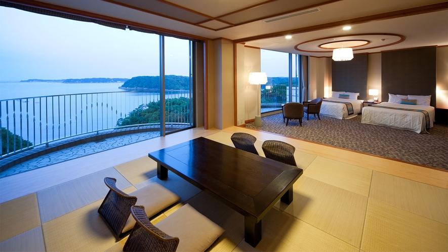 ◆【海側】特別和洋室(DXルーム) 80m2 定員7名 ◇禁煙◇(1)