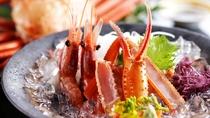【料理】タグ付き香住蟹会席(香住ガニと甘海老の刺身)