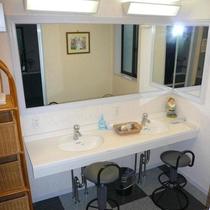 清潔感のある大浴場の化粧台