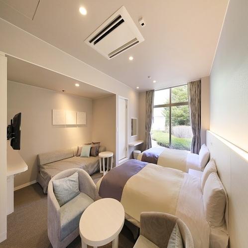 ●「スタンダードツイン」淡い色合いのお部屋です。※2部屋のみ