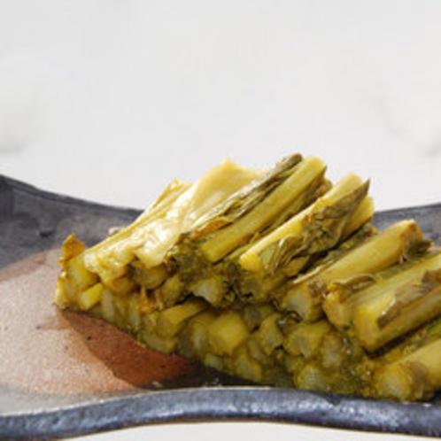 *自家製の野沢菜