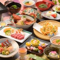 ご夕食の一例(飛騨牛ステーキ、桜えび尽くしなど)