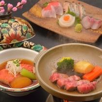 ご夕食イメージ(地魚お造り盛合せ、金目鯛しゃぶしゃぶ、飛騨牛ステーキ)