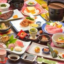 ご夕食の一例(季節の前菜8点盛、鮑や地魚のお造り、飛騨牛しゃぶしゃぶ、など)