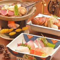 ご夕食イメージ(飛騨牛&海鮮の朴葉焼・地魚などのお造り・カサゴの姿煮)