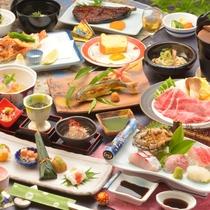 ご夕食の一例(相州牛しゃぶしゃぶ・鮑などのお造り・鮎の塩焼きなど)