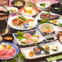 ご夕食の一例(季節の前菜盛合せ・飛騨牛しゃぶしゃぶ・鮑や地魚のお造りなど)