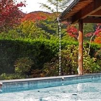 秋の露天風呂は紅葉をお楽しみ頂けます