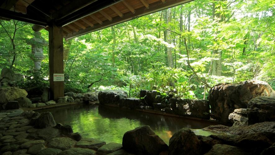 【かじかの湯】マイナスイオンが豊富な露天風呂。清涼な空気を思いっきり深呼吸して…癒しのひとときを。