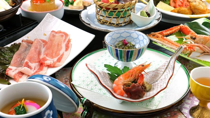 【お夕食一例】「健美豚」と旬の素材を使った料理長自慢のコース