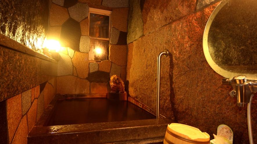 【月見の湯】貸切トルマリン風呂。遠赤外線作用により、体の芯までポカポカ!より温泉の効能を実感できます