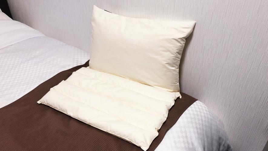 全室、高さ調節、硬さ調節のできる枕を設置。