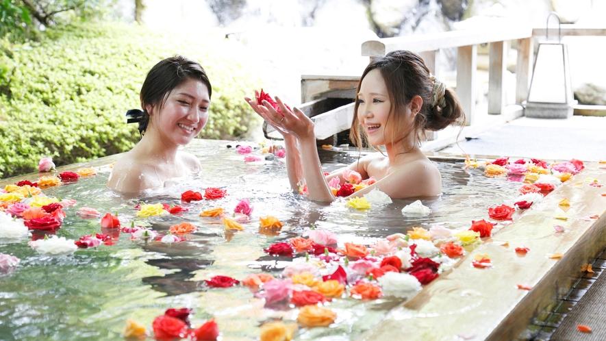 【庭の湯】薔薇妃乃湯は、女性に人気のお風呂です♪