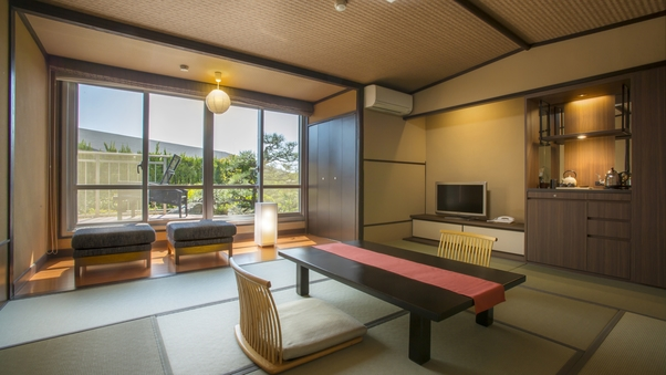<庭園側>磯浜庭園を望むテラス付き客室(和室10畳)