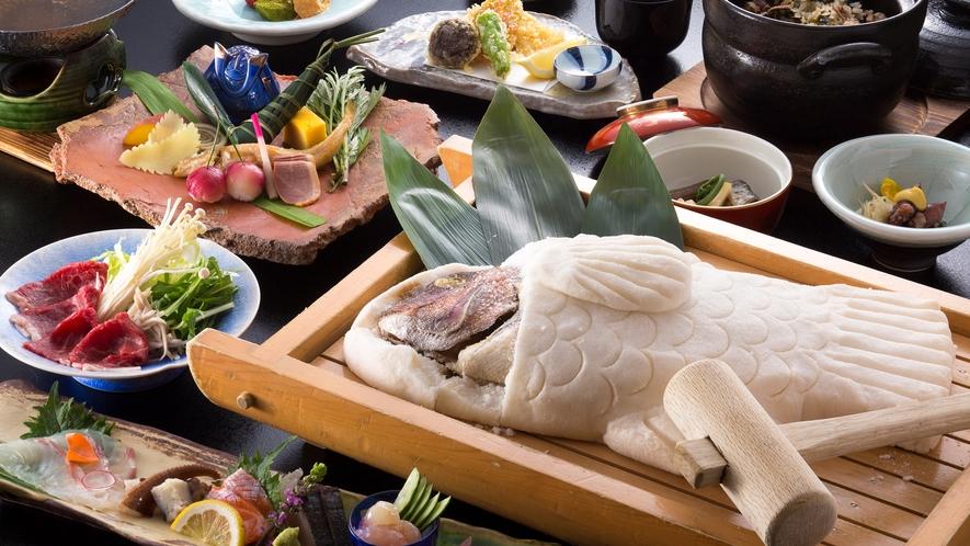 【赤穂名物】赤穂の塩で包み焼いた鯛を木槌でコツコツ叩いて割って楽しく味わう☆『鯛の塩釜グルメ会席』