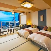 【展望デッキ&シモンズ製ベットタイプ(和室14畳)】シモンズ製のベッドで最高の眠りを♪