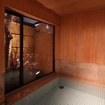 決して大きな浴室とは言えませんが、坪庭には季節のお花や、檜の香りを感じながらお寛ぎいただけます♪