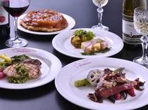 厳選素材のフランス料理フルコースディナーの一例