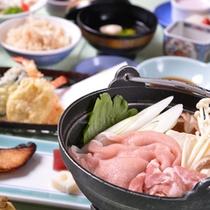 *お夕食一例(豚のしゃぶしゃぶ)/香り豊かな和風だしに軽く湯通し。絶品です!