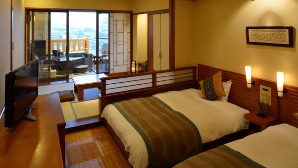 【2・3名様】温泉露天風呂付和洋室(4.5畳+ツインベッド)