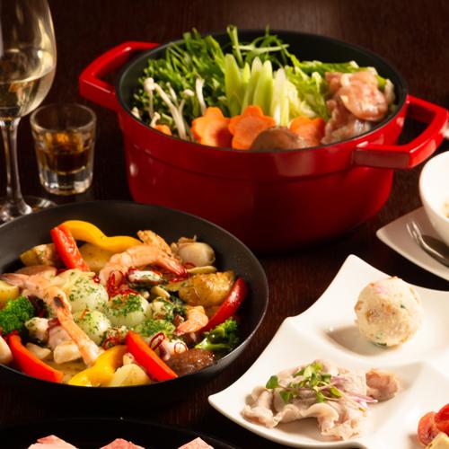 【夕食】ゆず胡椒鍋とアヒージョ