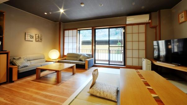 露天風呂付き広々リビングの和洋室「湯庵」51平米(禁煙