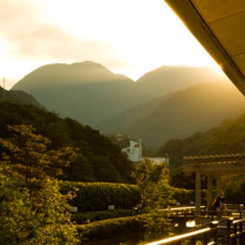 8階屋上庭園から見る双子山