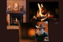 暖かく燃える暖炉