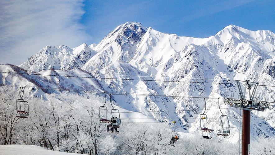 **【周辺観光_エイブル白馬五竜】アルプスが目の前に迫る圧巻のスキー場です。