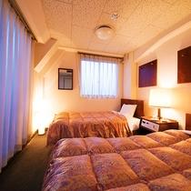 ■ツイン■15平米・幅110センチのベッドを二台配置した冷蔵庫なしのお部屋