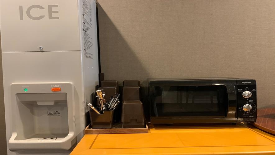 リラクゼーションルーム◇製氷機・電子レンジ 24時間ご自由にご利用ください。
