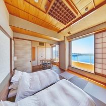 和邸白良浜ビューツインベッド+ダイニング(客室一例)