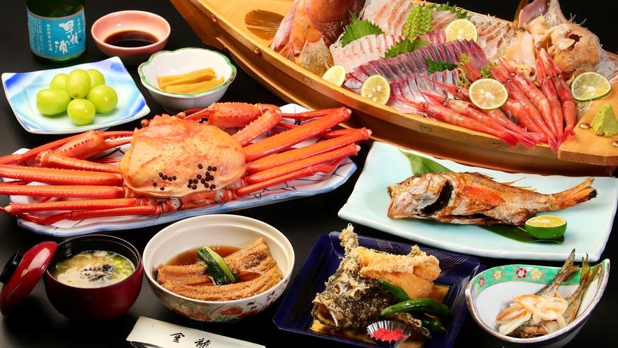 舟盛付き会席+紅ズワイと旬の地魚