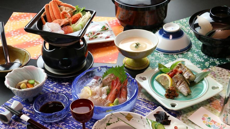 ◆【リーズナブル一例-冬季-】ズワイガニ入り海鮮鍋がメインのコース。