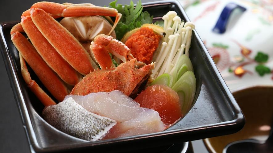 ◆【ご夕食一例・単品】ズワイガニ入り海鮮鍋