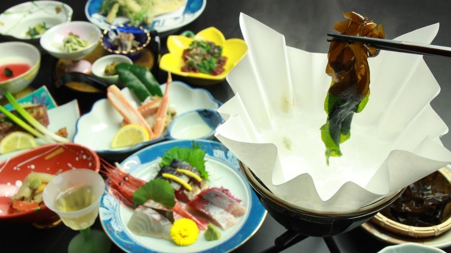 ◆【ご夕食一例】新鮮な日本海の幸と地場食材を使ったお料理をご堪能ください。