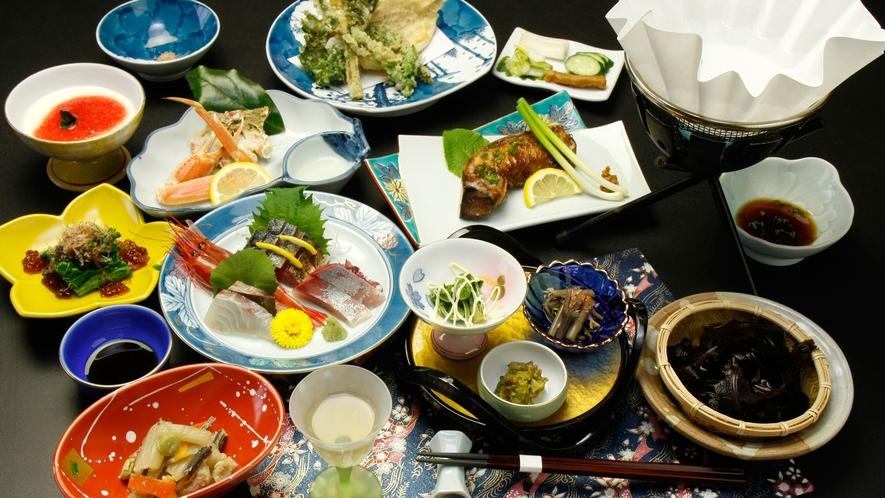 ◆【ご夕食一例】日本海の獲れたて食材をぞんぶんに喰らう!海鮮たっぷり料理コースです。