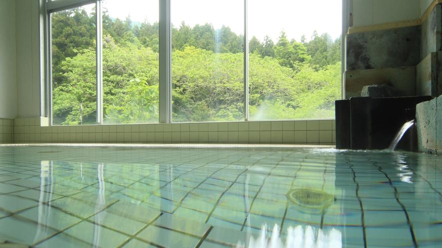 ◆【大浴場-新緑-】四季折々の弥彦山を眺めながら、のんびりと浸かってください