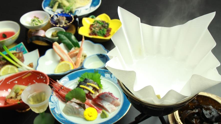 ◆【ご夕食一例】料理長が厳選した、その季節に最高に美味しい日本海の恵みをお楽しみください。