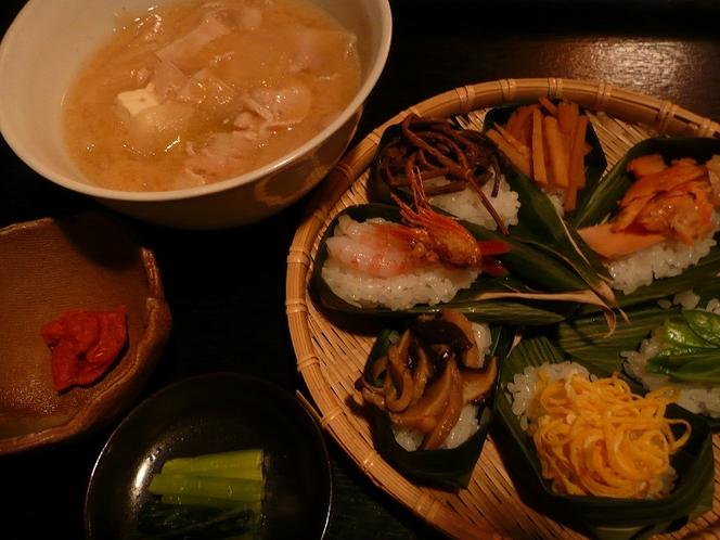 笹寿司とかんずり汁