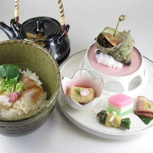 春の旬菜と桜鯛のづけ茶漬け