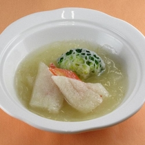 【11月・12月】中国料理 絹笠茸のカニ詰めふかひれあん