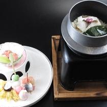 春の旬菜の盛り込みと桜鯛の釜飯