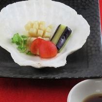 1月・2月 ホタテ蒸し物 黒酢ソース