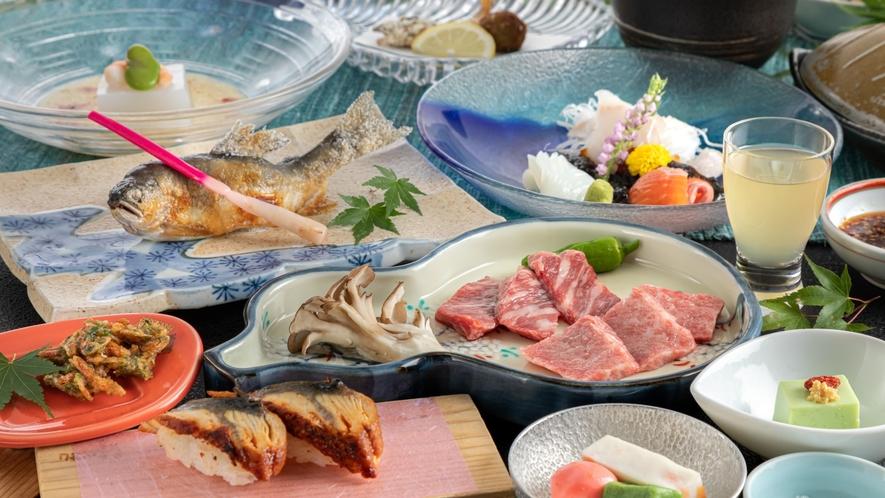【夕食】鳳来牛と段戸牛をミニステーキで食べ比べ『味くらべ懐石』 一例