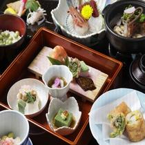 三河の幸、清流の川魚、地元の山菜を使った創作和会席(一例)
