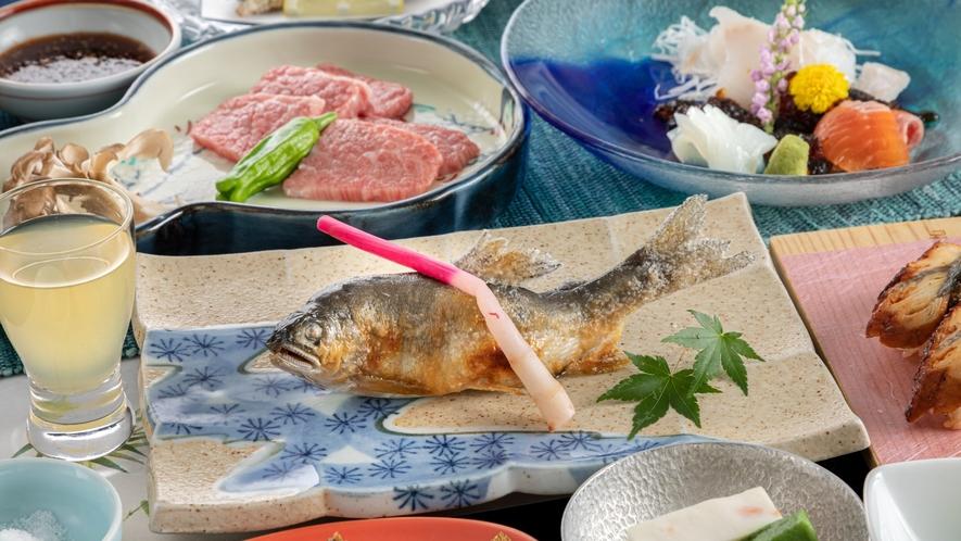 【夕食】鳳来牛付き美味少量会席 一例