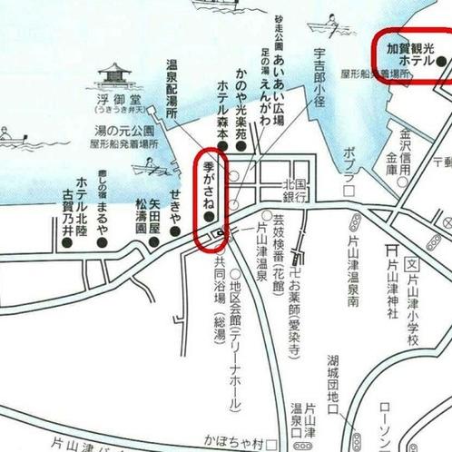 加賀観光ホテル・季がさね両館の地図です。