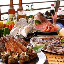 行楽シーズンに人気の≪炭火焼海鮮バーベキュー≫各プランご用意しております♪