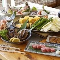 ≪炭火焼海鮮バーベキュー≫アワビと若狭牛ステーキ付きプランもございます!
